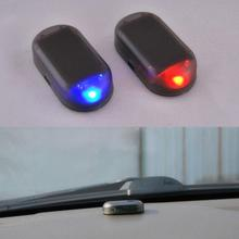 Solar USB Power Car Alarm Light Anti-Theft Warning Flash Blinking Fake Led Lamp Red Blue New Update