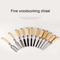 12Pcs/Pack Manual Wood Carving Hand Chisel Tool Set Carpenter Woodworking Carving Flat Chisel Hand Tools Shovelling Blade 6 38mm