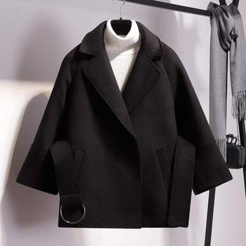 Women Short Woolen Coat Belt Jacket 2