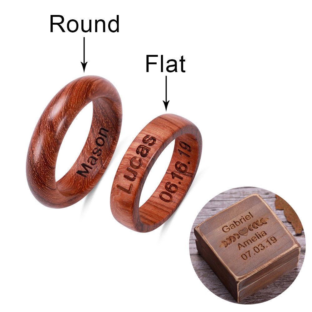 AILIN Custom Ring Personalized Name Wooden Jewelry For Man with Gifts Box
