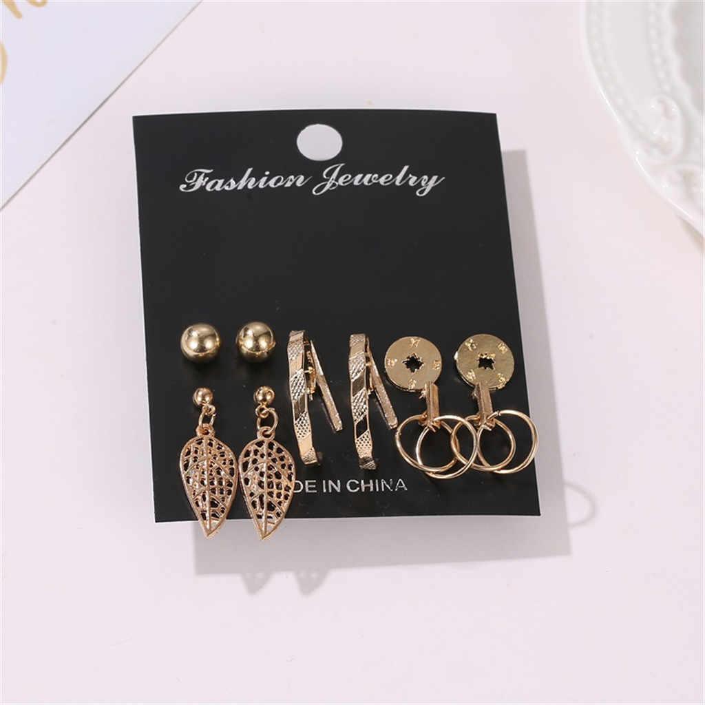 מעצב עגילי לנשים יוקרה Creative רטרו חלול עלה גיאומטרי עגילי סט של 6 זוגות עגיל הצהרת תכשיטים