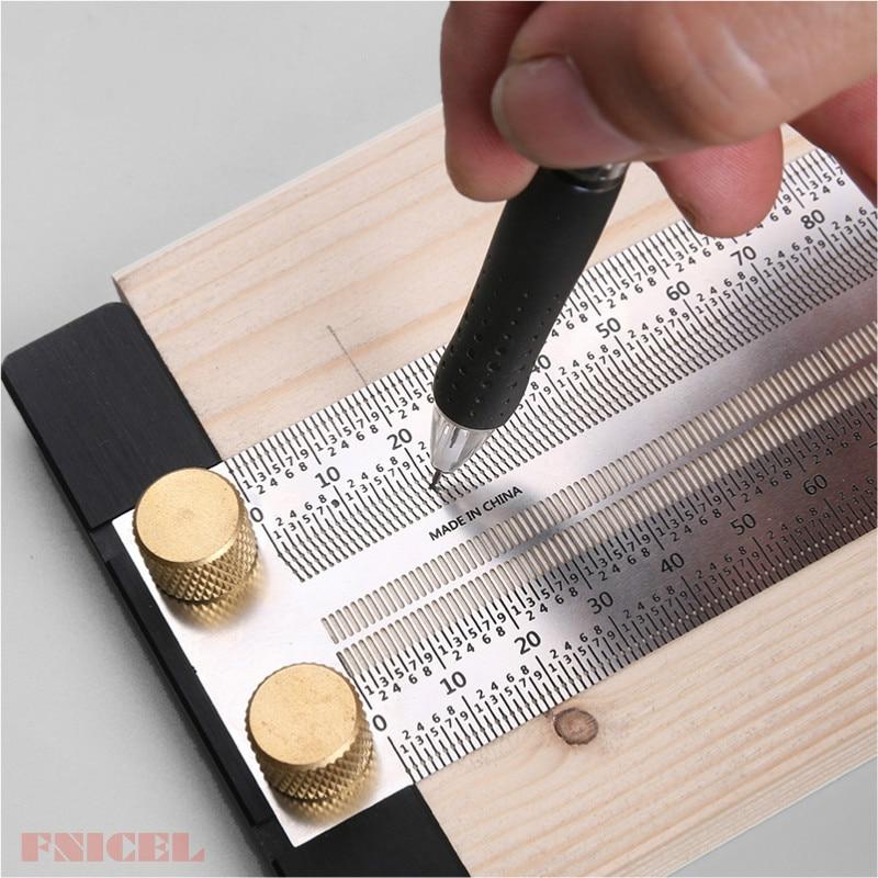 High-präzision Skala Lineal T-typ Loch Lineal Edelstahl Holzbearbeitung Ritzen Mark Linie Gauge Carpenter Messung Werkzeug