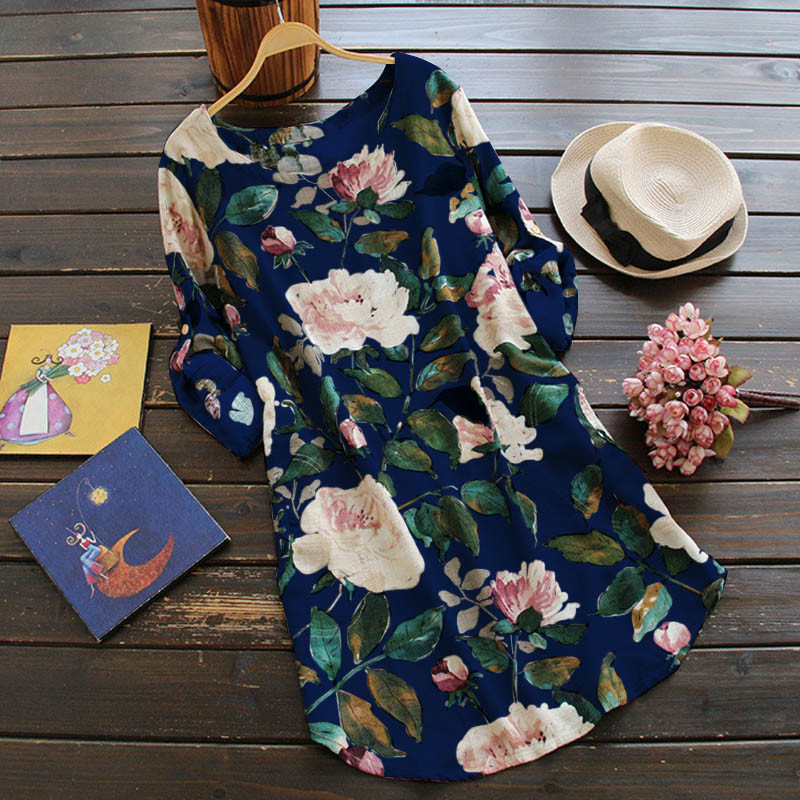 Hirigin Women Floral Linen Blouse Style Dress Long Sleeve Chinese Style Summer Loose Tops Plus Size S-5XL