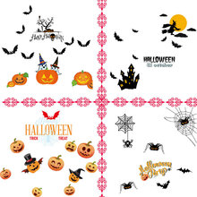 DIY PVC Halloween Wall Vinyl Sticker Pumpkin Witch Spider Bat Removable Home Window Decoration Halloween Mural Tool Wall Sticker купить недорого в Москве