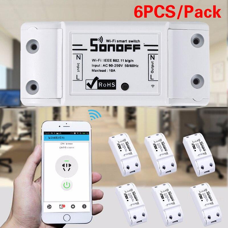 6 pièces WiFi télécommande sans fil commutateur intelligent Module ABS Shell pour la maison bricolage télécommande minuterie commutateur