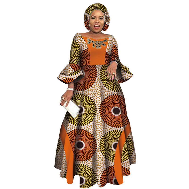 Stock Size Low Price Long Sleeve Dresses For Women Party Wedding Dashiki African Women Dresses WY3819