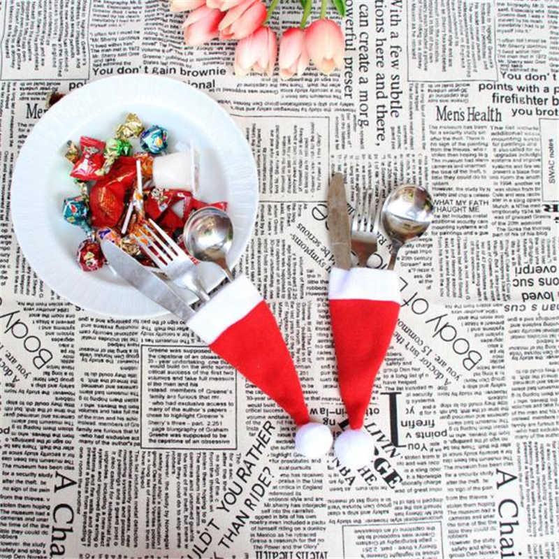 ใหม่ 1PCS หมวกคริสต์มาสผู้ถือช้อนส้อมกระเป๋าคริสต์มาสตกแต่งกระเป๋าตกแต่งคริสต์มาสหมวกเก็บเครื่องมือ Xmas ของขวัญ