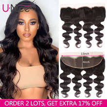 "UNice שיער Icenu רמי שיער סדרת ברזילאי גוף גל תחרה פרונטאלית משלוח חלק אוזן לאוזן שיער טבעי סגירת תחרה גודל 13 ""x 4"""
