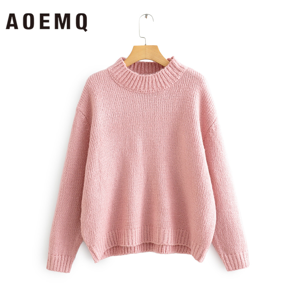 AOEMQ Casual Sweater Sweet Girlfriend Pink Sweaters Kintted Warm Spring Christmas Sweater O-Neck Collar Pullovers Women Clothing