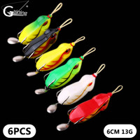 6pcs Frogs Lure 13g Plastic Silicone Bait Artificiais Lure Topwater Fishing Tackle Wobblers Spinnerbait