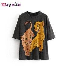 Women Shirts 2019 Lion King Printed Tshirt Womens Casual O-Neck Short Women Tops Printed Animal Cute T Shirt for Female stylish monkey king printed t shirt and pencil pants twinset for women