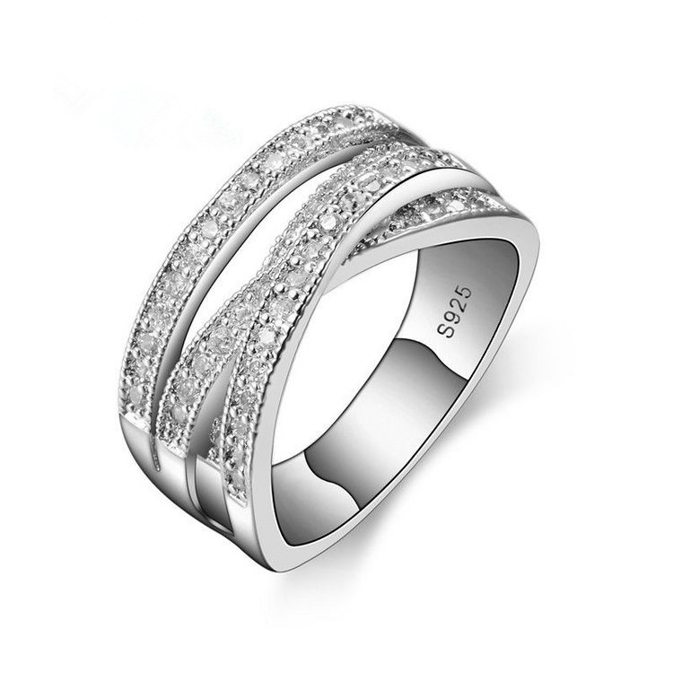 New Women's Fashion Ring Crystal from Swarovskis Party Luxury Luxury Bridal Jewelry 925 Sterling Silver Wedding Engagement Ring