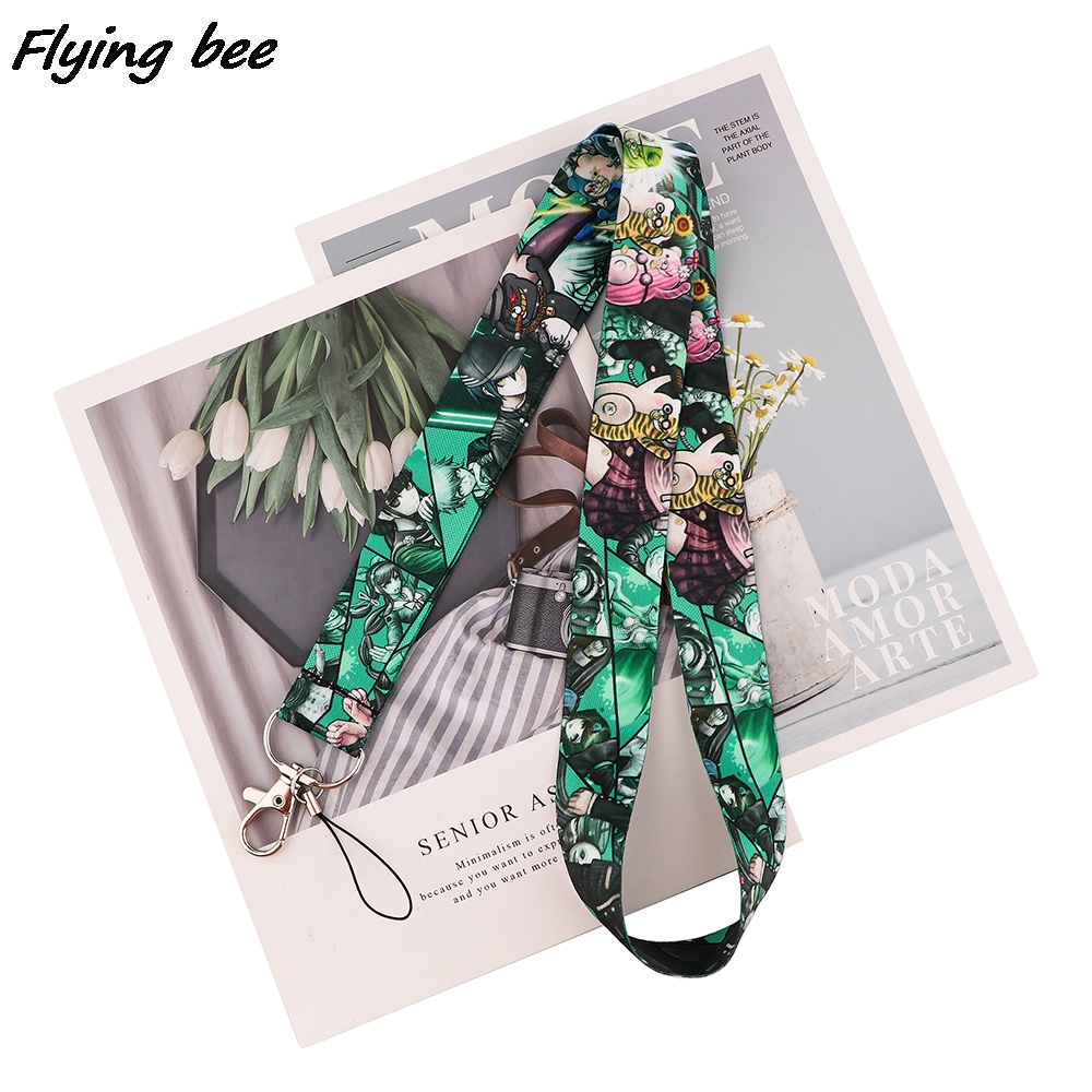 Flyingbee High Quality Cartoon Key Chain Lanyard Gifts For Child Students Friends Phone USB Badge Holder Necklace Fan Gift X1707