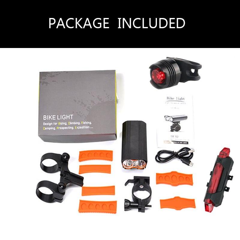 Купить с кэшбэком Joshock USB Bike Light 2 XM-L T6 LED 24000Lm Headlight 2 Battery T6 Leds  Cycling Lamp Lantern Flashlight With Free Tail light.