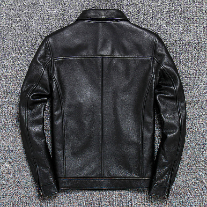 Genuine Leather Jacket Men Spring Autumn 100% Cow Leather Coat Short Cowhide Biker Mens Leather Jackets V-A005 KJ3850