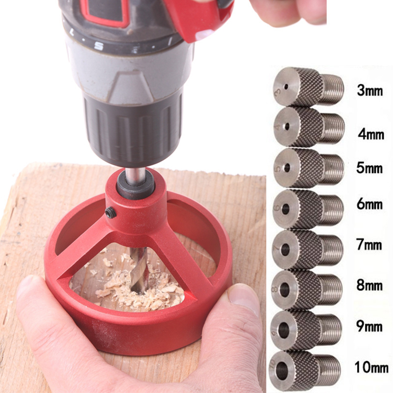 Log Tenon Punch Locator Woodworking Aluminum Alloy Pocket Jig Set Positioner Drill Guide Sleeve Hinge Jig Locator Drilling Guide