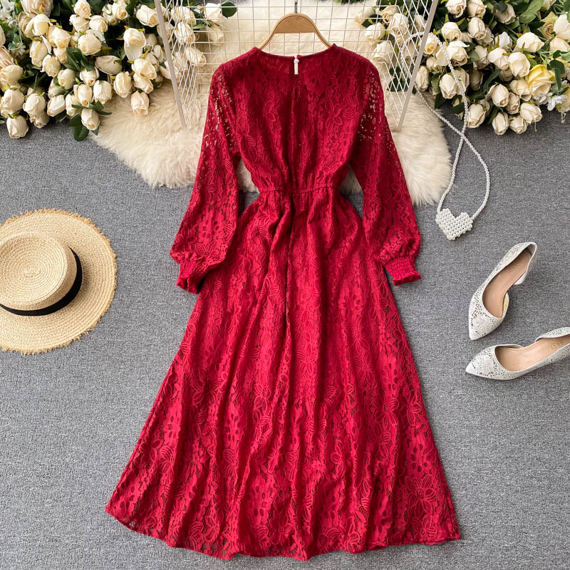 2021 femmes printemps nouvelle mode rétro Court Style o-cou manches bouffantes maille dentelle creux crochet fleur plissé Patchwork robe D0131
