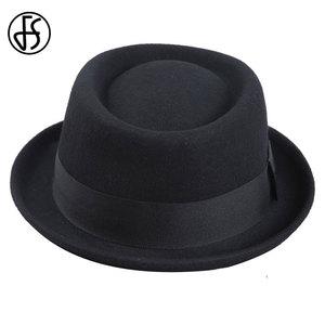 Image 3 - FS Vintage porc tarte chapeau hommes à large bord laine feutre Fedora noir chapeau Mans église Jazz ruban Trilby Panama Gangsters casquettes