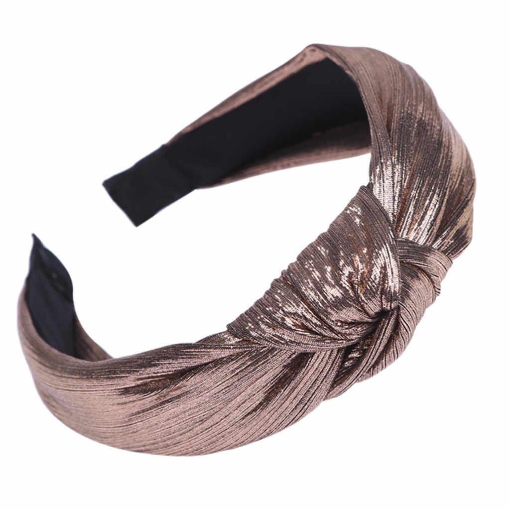 Muqgew Retro Flanel Melilit Rambut Aksesoris Headband Wanita Kasual Solid Cross Simpul Empuk Kepala Hairband Aksesoris