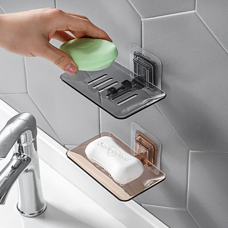 Soap Holder Bathroom Storage Organizer Shower Drain Soap Tray Non-perforated Wall-mounted Drainage Plastic Box Pasted Simple