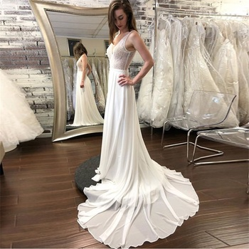 New Bohomian Beach Wedding Dress Sheer Bodice Chiffon Bridal Dress Robe De Maria White Court Train Backless Vestido De Noiva embroidered bodice frilled dress