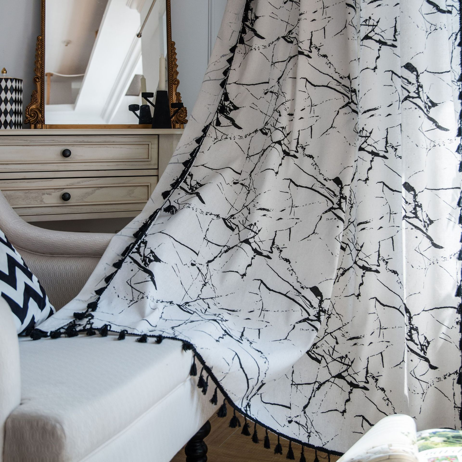 Modern White Marble Linen Curtains Black Lace For Living Room Bedroom Kitchen Window Kitchen Window Curtain Curtain Panel Curtains Aliexpress