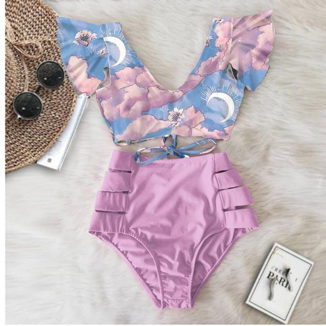 2020 Print Swimwear Women High Waist Bikini Ruffle Swimsuit Push Up Bikinis Set Bathing Suit Beach wear Summer Biquini Female 1