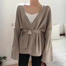 Autumn Winter V Neck Solid Loose Casual Sweater Belt Lace Up Cardigan Long Sleeve Plus Size Sweater цена 2017
