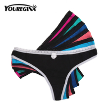 YOUREGINA Womens Cotton Thong Sexy Bikini Panties Cute Girls Underwear Woman G-String Lingerie Ladies Briefs 5 pcs/lot Bowknot