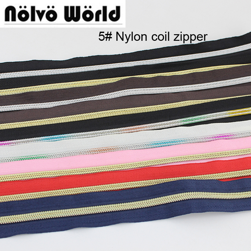 10-30 Yards/lot,13 Color 5# Nylon Coil Zipper,No.5 Plastic Zippers Zip For Bags,handbags,purse,clothing Pants Sewing