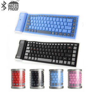 NEW Wireless Bluetooth Keyboard Foldable Roll Up Silent 87key Keypads Soft Silicone Flexible Teclado For PC Huawei Iphone Tablet(China)