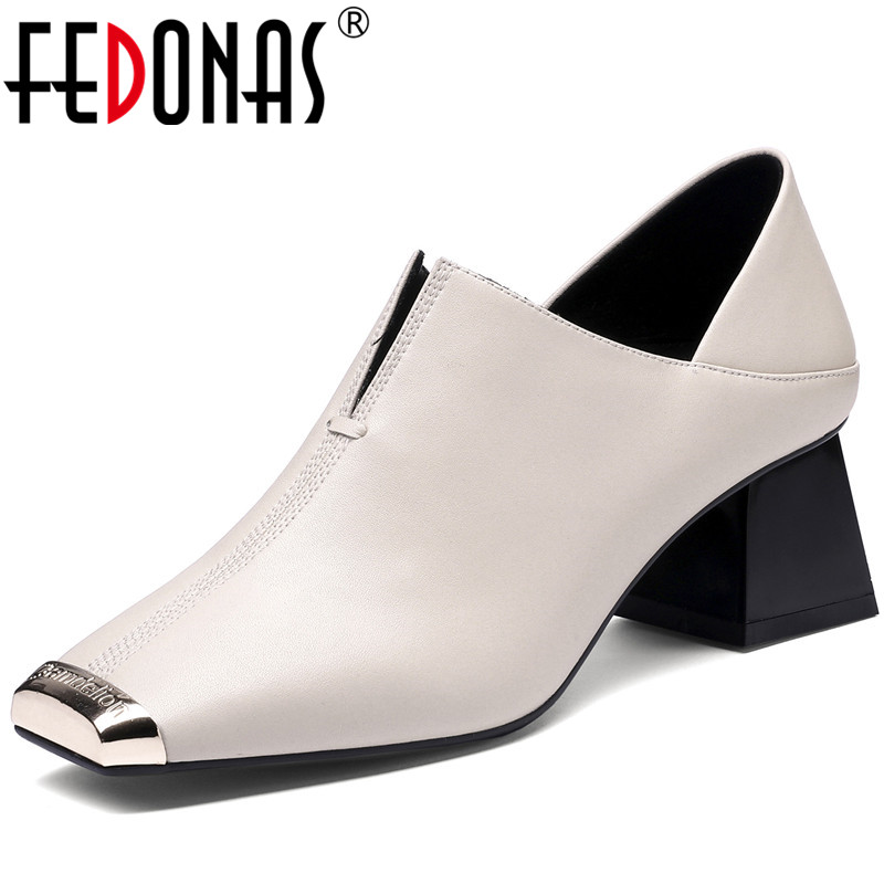 FEDONAS New Arrival Women Night Club Square Toe Pumps Spring Summer Metal Decoration Shoes Genuine Leather Elegant Shoes Woman