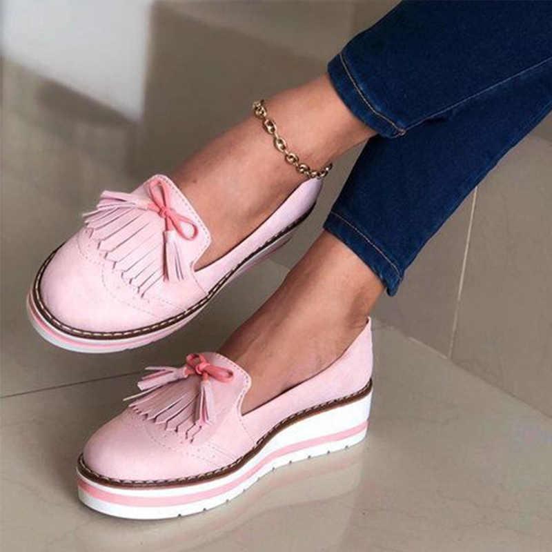 Nữ Cho Nữ 2020 Tua Rua Slip On Nữ Giày May Da PU Mềm Mại Căn Hộ Người Phụ Nữ Nền Đáy Dày Mùa Hè Nữ giày Dép