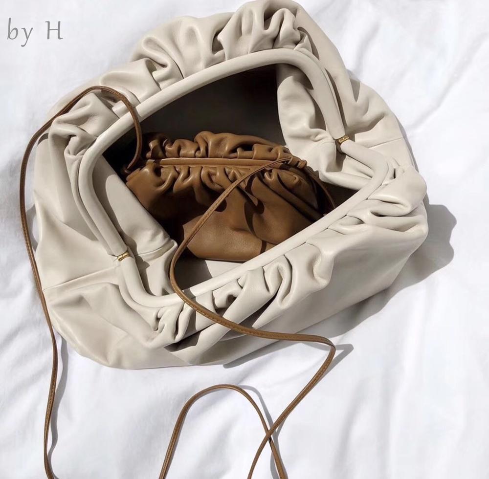 By H новейшая облачная сумка из коровьей кожи, клатч на завязках, Женская Роскошная сумка на плечо, высококачественный дизайнерский кошелек, ... - 4