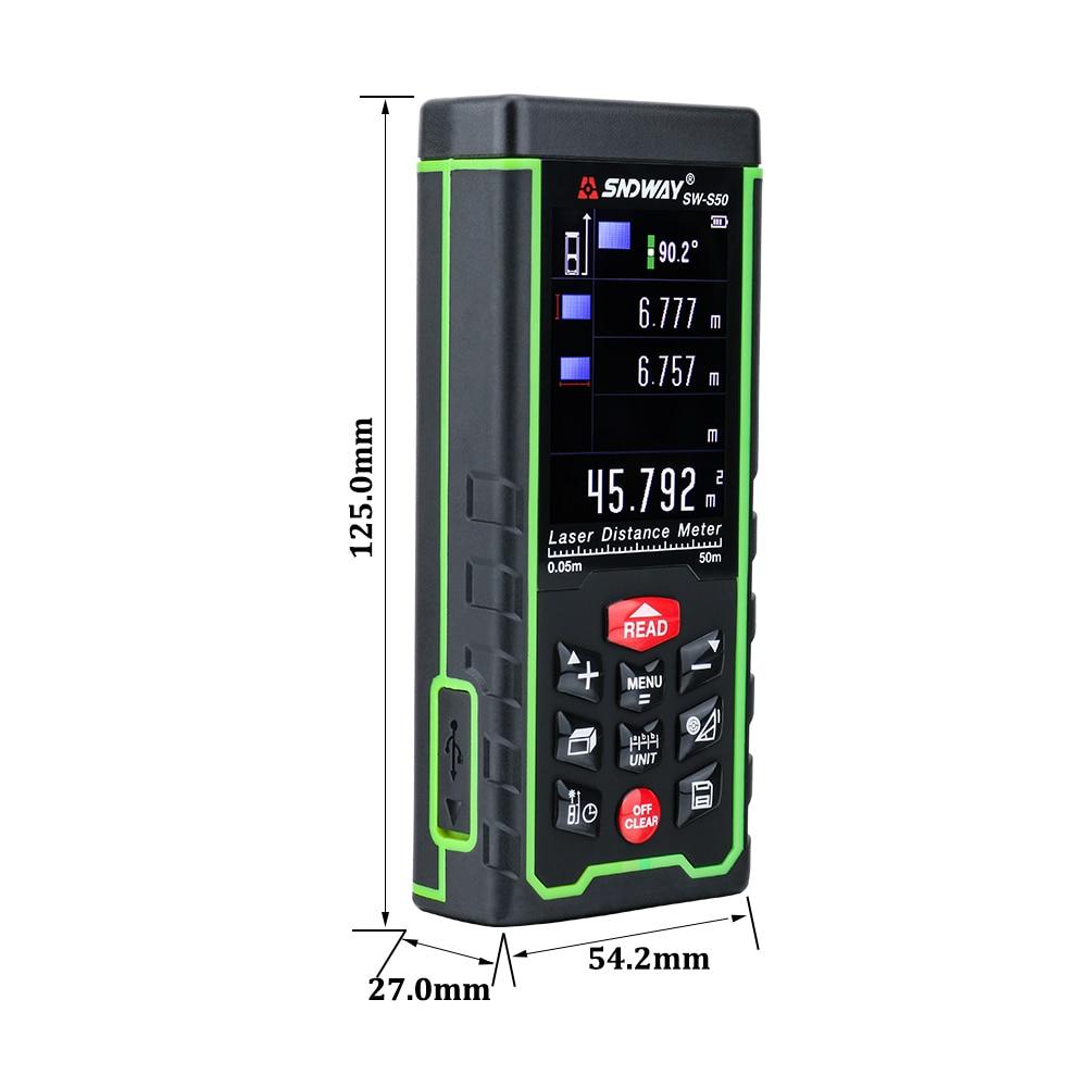 SNDWAY Kolorowy wyświetlacz 50 m 164ft Cyfrowy akumulator Dalmierz - Przyrządy pomiarowe - Zdjęcie 3