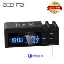 Беспроводное зарядное устройство SCOMAS Qi, быстрая зарядка 48 Вт, 6 портов, адаптер, мульти быстрая зарядка USB, док станция для iphone, планшета, QC 3,0