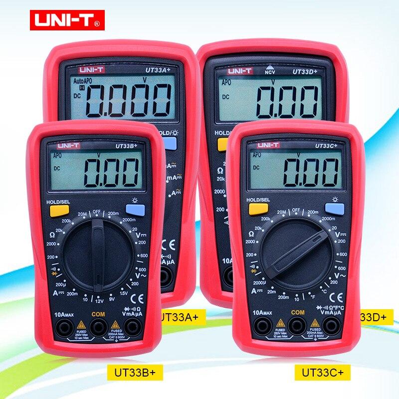 UNI-T ut33 série tamanho da palma digital multímetros profissional amperímetro handheld elétrico multitester com luz de fundo retenção dados