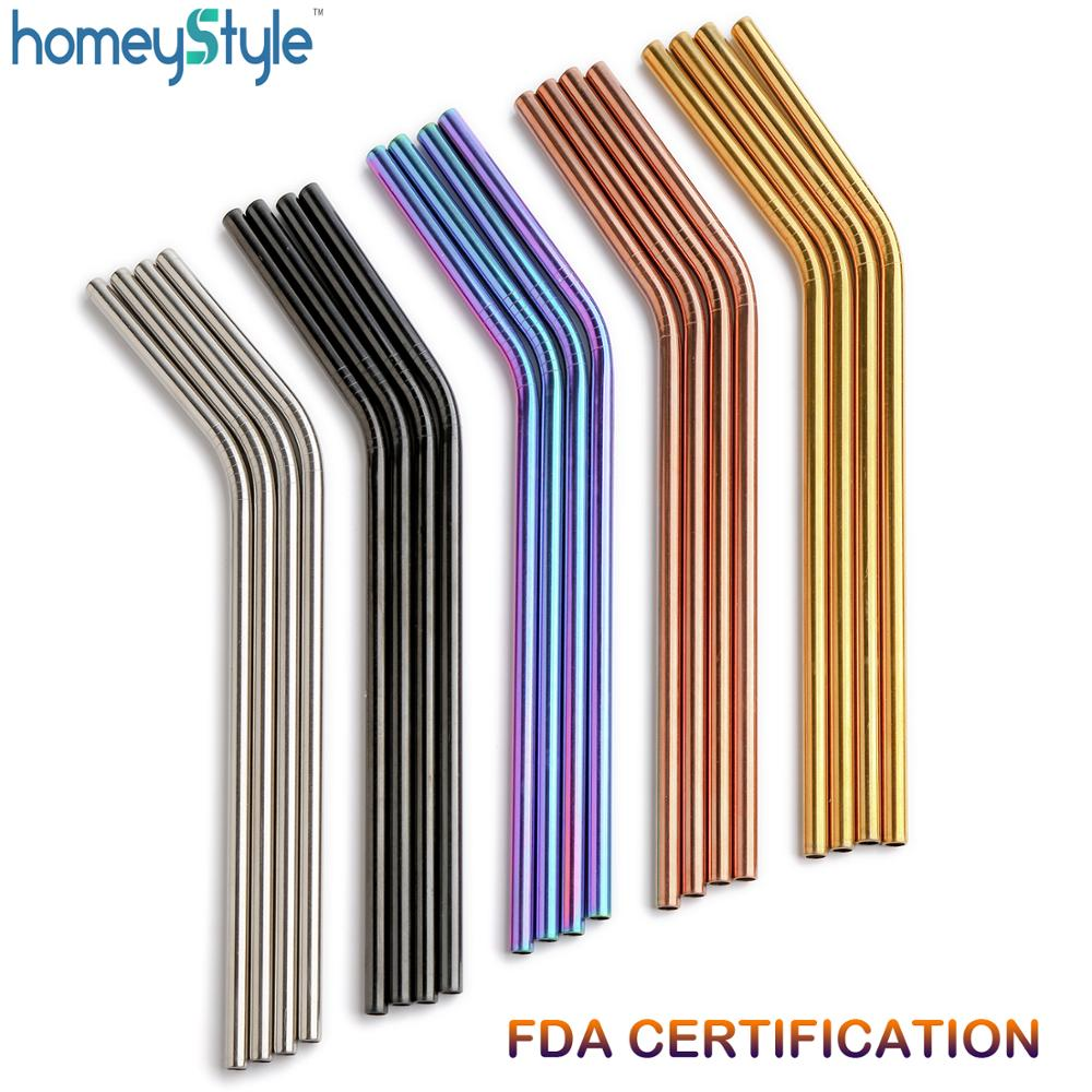 Wholesale 1000Pcs batch Reusable Metal Straws E co Friendly Stainless Steel Drinking Tubes 6MM 215MM Colorful