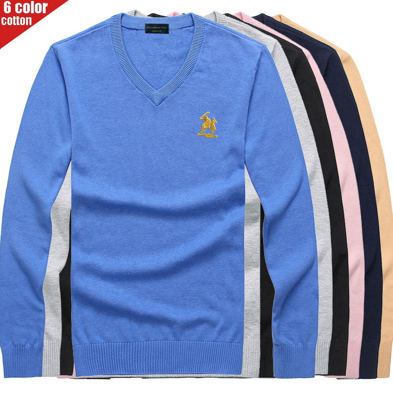 Embroidered Polo Logo Autumn Winter 2019 Men's V-Neck Sweater Men's Youth Trend Pure Cotton Bottoming Shirt Slim Knit 8508