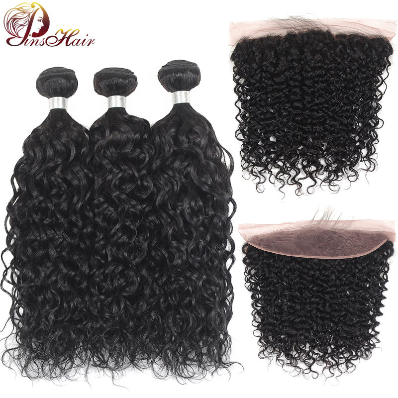 Pinshair Brazilian Hair Weave Bundles With 13*4 Lace Frontal Water Wave Human HairBundles With Closure Non-Remy Hair 3 Bundles