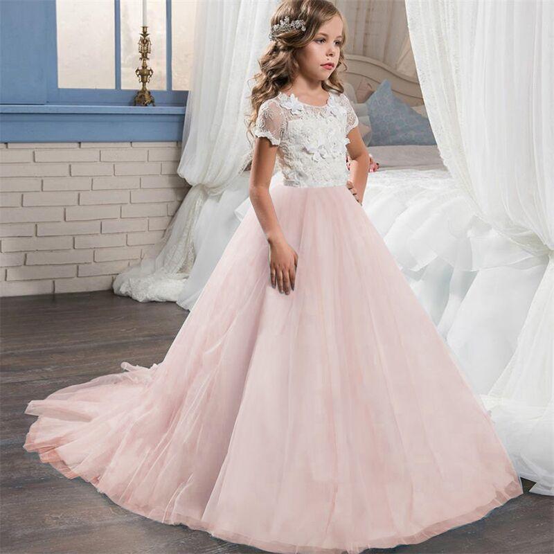 Fleur Fille Robe Princesse Formelle graduation demoiselle d/'honneur robe de mariage pour enfants