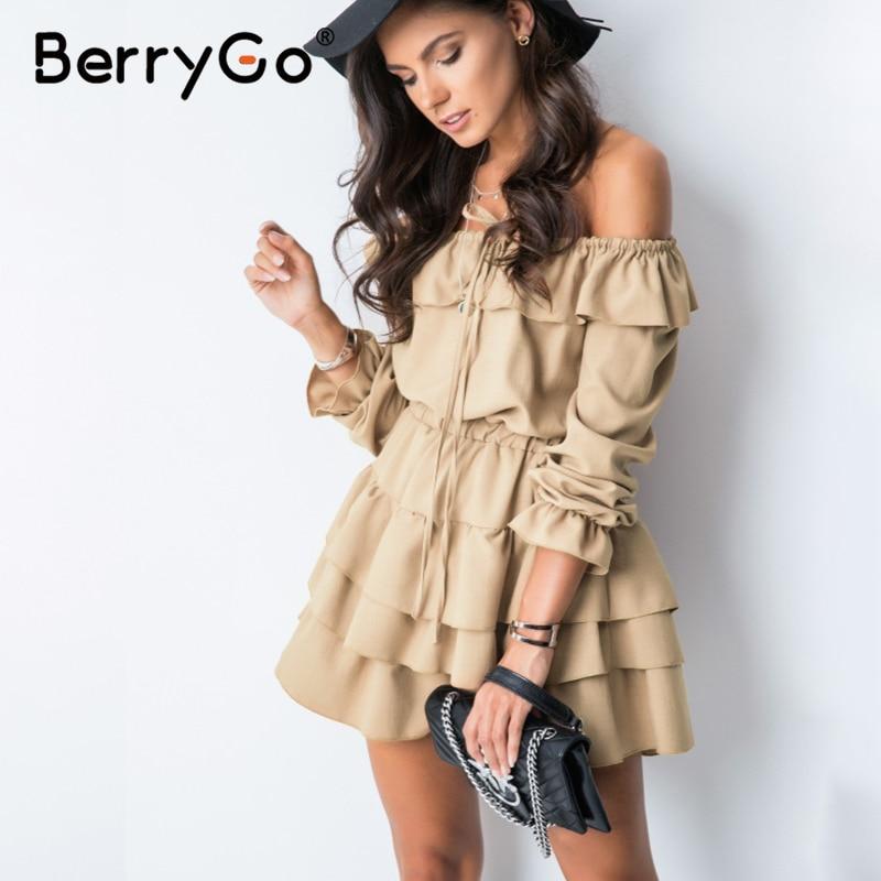 BerryGo Sexy Off Shoulder Women Summer Dress Elegant Ruffle Holiday Female Beach Sundress Casual A Line Ladies Short Mini Dress