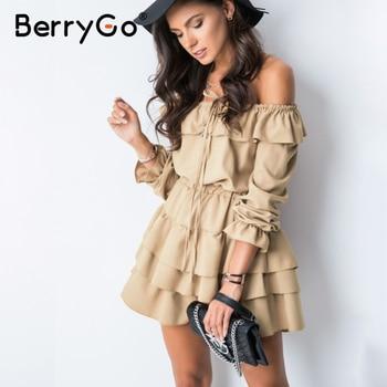 цена на BerryGo Sexy off shoulder women summer dress Elegant ruffle holiday female beach sundress Casual A line ladies short mini dress