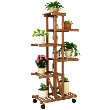 Balcony, Multi-flower Shelf, Indoor Living Room, Multi-layer Anti-corrosion, Wooden Potted Plant, Hanging Orchid, Simple Floor P