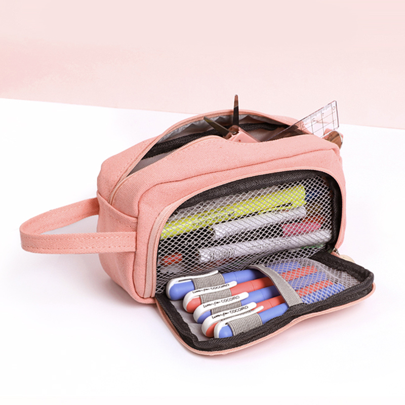 JIANWU 1Pc Solid Simplicity Large Capacity Pencil Bag Cute Student High Capacity Pencil Case Kawaii Storage Bag School Supplies