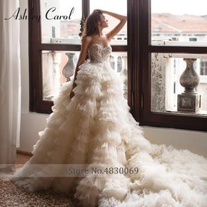 Image 5 - Vestido De novia De tul con cuentas De lujo, manga fruncida con hombros descubiertos desmontable, Vestido De novia De ashily Carol, 2020