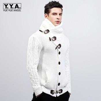 New Quality Brand Fashion Mens Knitted Sweaters Coat Lapel Male Winter Thicken Fleece Duffel Warm Jacket Plus Size 2XL