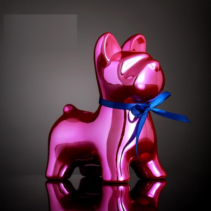 Art moderne abstrait ballons chien tirelire Statue bouledogue français Figurine céramique artisanat salon décoration cadeau R3589