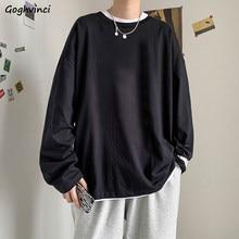 T-shirt à manches longues pour hommes, couleur unie, loisirs, Chic, rétro, surdimensionné, Style coréen, mode, basique, en coton, 3XL