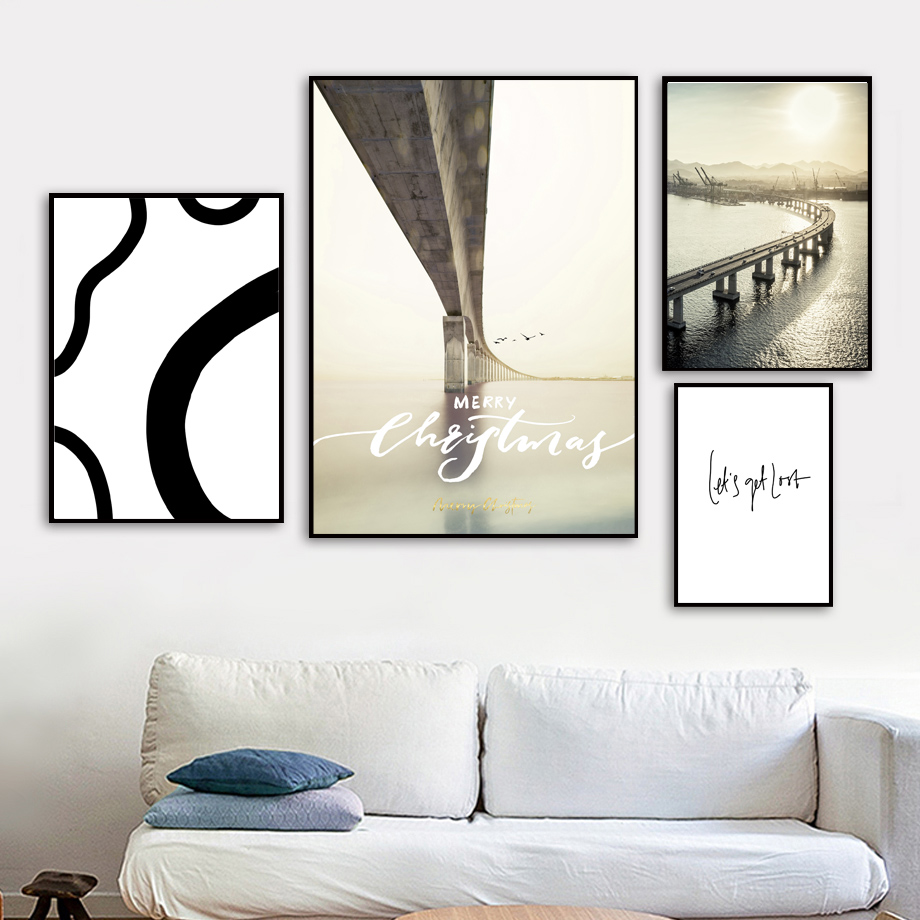 Bridge Abstract Line Landscape Wall Art Canvas Painting Nordic Posters And Prints Pictures For Living Room Home Decor